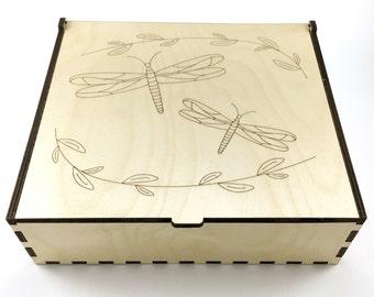 Essential Oil Storage Box, 56 Slots, Dragonflies, Aromatherapy Storage Box, Essential Oil Case, Wood Oil Holder, Aromatherapy Oil Organizer