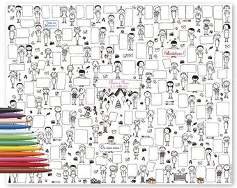 Guestbook Marriage - 100 bubbles - text, message, comment, bubbles, signature, family, friends, marriage