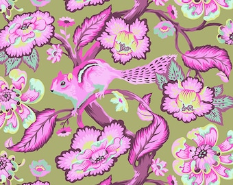 Chipper by Tula Pink for Free Spirit - Chipmunk - Raspberry - FQ - Fat Quarter - Cotton Quilt Fabric 516