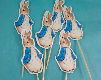 Peter Rabbit cupcake toppers, Peter Rabbit birthday, shower toppers C121 cup cakes