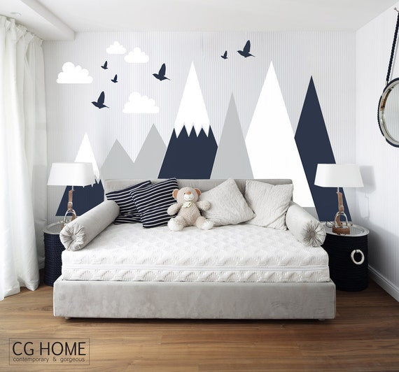 Mountains Wall Decal Woodland Baby Room Decal Clouds Birds Toddlers Custom Personalized Washable Headboard Sticker Nursery #mountains001