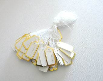 20 tags price price afichage corded. Jewelry tags. Paper labels. Gold labels. Square label. France