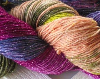 SERENDIPITY Handpainted Merino Yarn, Indie-Dyed Yarn, Handdyed Yarn, Soft Merino Yarn, Superwash Yarn, Sparkly Merino Yarn, 409 yards, 4 oz