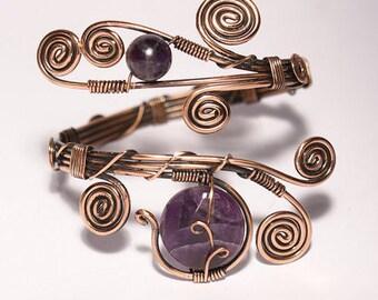 Copper Amethyst Bracelet, Copper Bracelet Women, Amethyst Cuff Bracelet, Wire Wrapped Bracelet, Copper Wire Jewelry