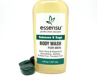 Men's Oakmoss and Sage Aloe Vera Natural Herbal Body Wash | Botanical Shower Wash | Antioxidant Vitamin E | No Sulfates | No Parabens - 4 oz
