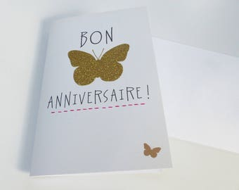 Happy happy birthday gold glitter Butterfly card