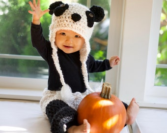 Baby Costume - Panda Bear Costume - Baby Panda Hat and Pants - Black and White Panda Hat - Baby Panda Costume - Photo Prop -by JoJosBootique