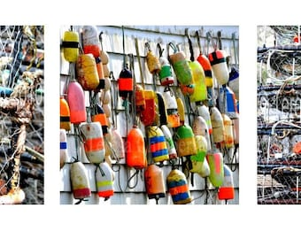 Fishing Photography, Colorful Fishing Float Prints, Crab Pots, Special Priced Set, Fishermen, Set of 3, Gift for him,8x8,10x10,12x12, Buoys