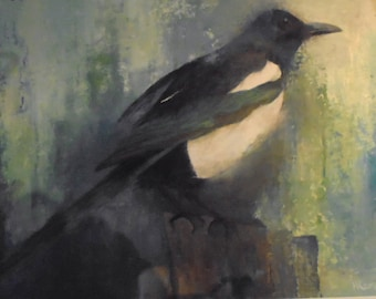 A beautiful oil painting of a solitary magpie