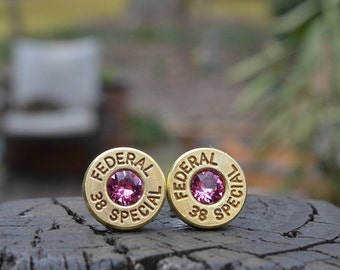 Bullet Earrings stud earrings or post earrings Federal .38 special earrings gold earrings Federal earrings with Swarovski crystals