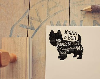 Westie Return Address Stamp, Housewarming & Dog Lover Gift, Personalized Rubber Stamp, Wood Handle, West Highland Terrier Stamp