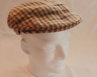 1950s The Scotch House Camel Hair Tweed Newsboy Cap / Driving/Golf Hat