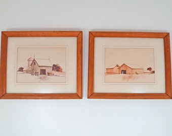 2 James Hicks original framed prints barn scene