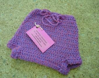 Newborn Baby Girls Wool Shortie Soaker Diaper Cover - Mulberry 507