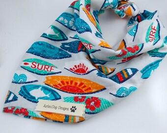 Bandana, Dog Bandana, Ocean Bandana, Surfboard Bandana, Bandana for Dogs, Beach Bandana, Tie On Bandana
