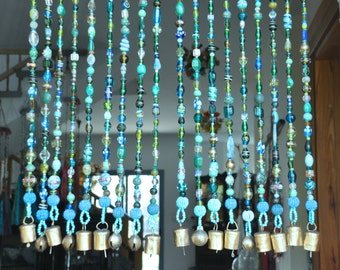 Beaded curtain-Bohemian Curtain- Window curtain-beaded door curtain-hanging door beads-beaded wall hanging-bohemian wall art-door curtain