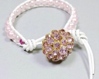 Rosa Braut, Rosa und weiße Braut Armband, Armband für Kristallarmband, Lederarmband Knopf, Braut, Hochzeit
