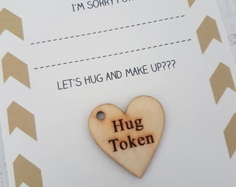 I'm sorry card, I'm sorry, Hug Token, Love Heart, Gift for Her, Gift for Him, Friendship, Love, Wooden, Keyring, Gift, Friends, Personalised