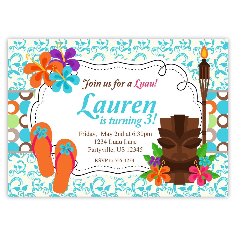 Dorable Hawaiian Party Invite Ensign Invitation Card