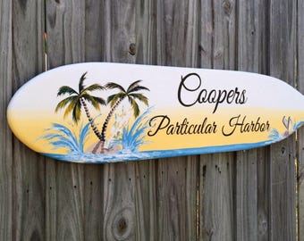 Surfboard Wood Guestbook Alternative Wedding Sign, Nautical Beach Wedding Decor, Palm Tree Beach Decor