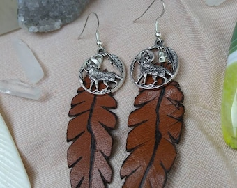 Recycled Boho Wolf Leather Feather Earrings ~ for essential oils