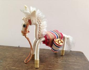Vintage donkey figurine White handmade donkey Donkey souvenir