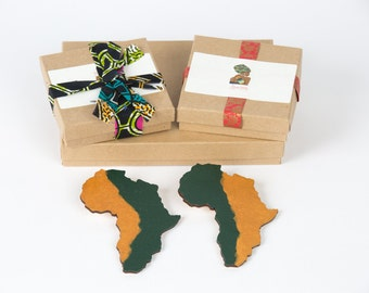 Gold and green African wooden earrings