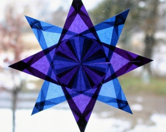 Window Star in Blue and Purple with 8 Points