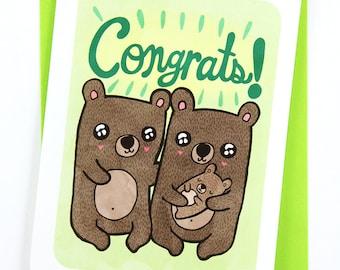 Congrats Baby Bear - New Baby Card - Gender Neutral