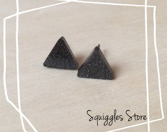 Hypoallergenic Stud Earrings with Titanium Posts - Black Shimmer Triangle - Sensitive Ears