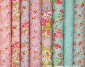 8 Fat Quarters COLETTE by Chez Moi ...  Rose, Violet and Sky Colorways ...  pink, purple, blue