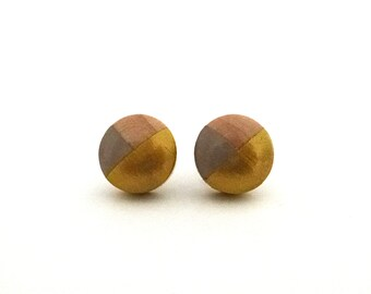 Taupe gray and gold wood post earrings, colorblock earrings, stud earrings, spring earrings, neutral earrings