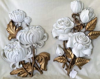 """Vintage Home Interiors Wall Hangings Set of 2 Homco 1960's Roses and Chrysanthemums 18"""", Home Decor, Homco, Home Interiors, Vintage Rose"""