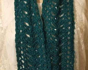 Ready to Ship--Teal Lacy Scarf--Crochet Blue-Green Scarf--Lacy Shell Pattern