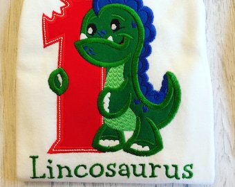 Dinosaur Birthday Shirt - Boys Dino Shirt - Birthday Dino Shirt - First Birthday - Dino birthday - dinosaur shirt - embroidered shirt
