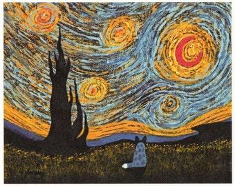 Australian Cattle Dog Art print by Todd Young Under a Van Gogh Sky