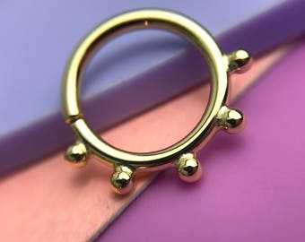 Echo Septum Ring - Solid 18ct Gold - Piercing Septum Daith Helix Rook Nostril
