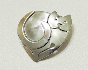 Far Fetched Vintage Sterling Silver Heart Cat Pin