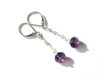 Amethyst Long Earrings Sterling Silver Leverback Faceted Beads Dark Purple Natural Gemstone Chain Dangle Earrings Simple Elegant #18661