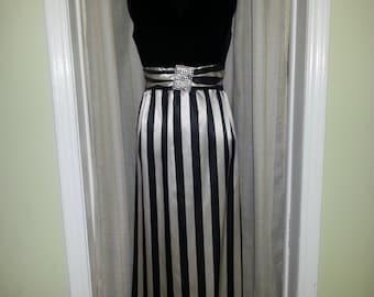 Vintage dress, vintage evening gown, vintage gown, 1940's evening gown, vintage black dress, black and white dress,