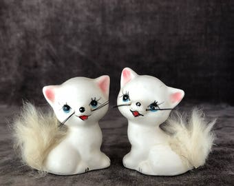Vintage Real rabbit fur tail kitty cat salt and pepper shakers
