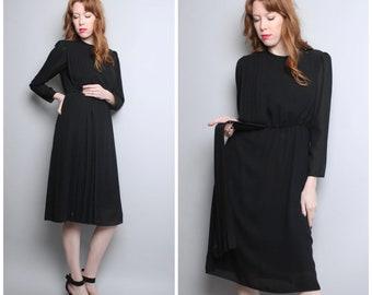 1970's Black Dress / Sheer Secretary Dress / Medium