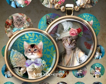 Printable download LADY CAT Digital Collage Sheet 1 inch and 2 inch circle images for pendants magnets scrapbooking paper by ArtCult
