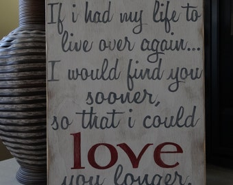 Love you longer. Hand painted wood sign/ Wedding signs/ Anniversary gift/  wedding gift/ Rustic love sign