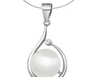 Silver Freshwater Pearl Teardrop Pendant