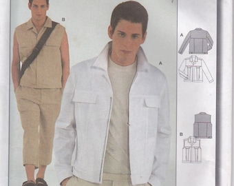 2000's Sewing Pattern - Burda  8823 Mens Jacket, Vest  Size 36 - 48 inches  Uncut, Factory Folded