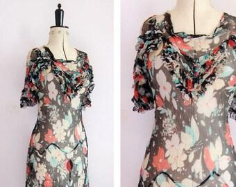 Vintage 1930s silk chiffon bias cut sheer floral gown with capelet & slip - 30s silk chiffon dress - 30s floral dress  - 30s Bias cut dress