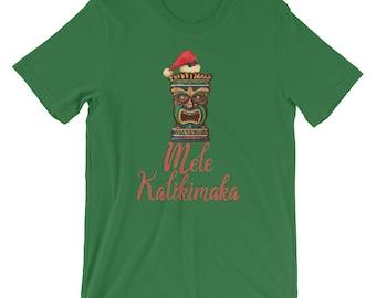 Tiki Santa Mele Kalikimaka Hawaiian Shirt | Hawaii Merry Christmas Funny Humor T-Shirt | Happy Christmas Holiday Celebration Short-Sleeve