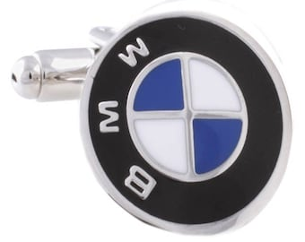 BMW Cufflinks - Silver Plated BMW Cufflinks - Laser Finish Cufflinks - Gift Box Included