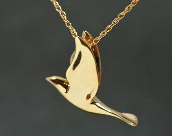 DOVE PENDANT, Graceful, Fully 3-dimensional, handmade in 14k yellow gold. Larger 14k Dove